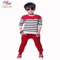 Big Virgin Boys Sport Stripe Suits Baby Boy Long Shirt Long Pants 2pcs Sets 2015 Children