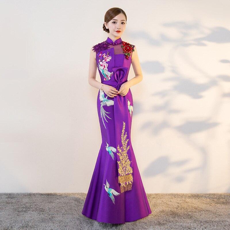 Purple Modern Cheongsam Sexy Qipao Women Long Traditional Chinese ... 937e4758c98