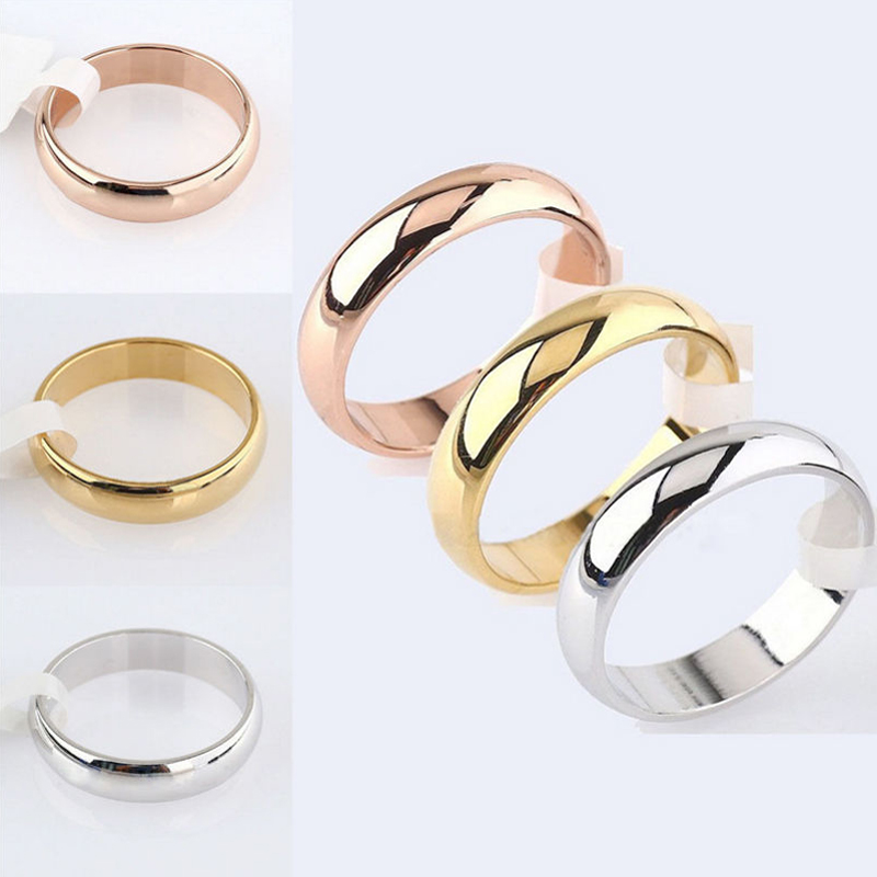 Latest Fashion Fortunately Rose Gold Women Men Polished Stainless Steel Ring Convention Jewelry Wedding Band Ring Valentine Gift(China)