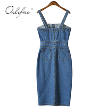 Ordifree 2018 Summer Autumn Women Denim Dress Sundress Sarafan Overalls Dress Vintage Blue Sexy Bodycon Female Jeans Dress