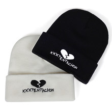 d3d586cf60864 Hip Hop singer XXXTentacion Embroidered Knitted winter hat Cotton men women  Hip-hop Skullies Beanie Bone Garros new 2018