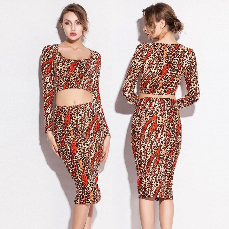 Slim Fit 2020 Leopard Print Office Dress T-Shirt Two Pieces Comfort Stretch Bavlna Sexy ženy Těsné šatyHome Street