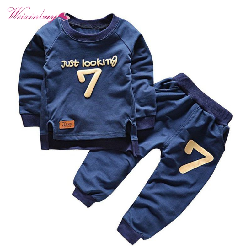 WEIXINBUY Children Boys Hoodies Sets 2018 New Cotton O-Neck Letter Print Solid Full Sleeve Sweatshirts Sets for 1-5Y