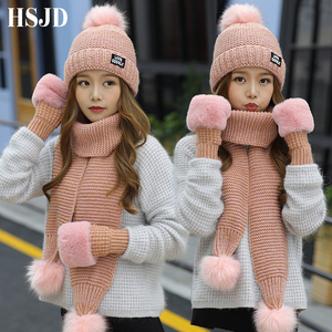 Image 1 - 2018 New Women Winter Hat Scarf /Gloves Sets Female Three   piece Knitted Hats Scarf Set Caps for Girl Warm Skullies Beanies hat