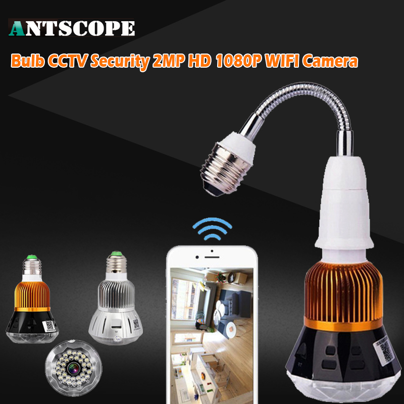 Antscope 1080P WIFI Bulb Light Monitoring Home Security WiFi Camera 2MP Night Vision CCTV Security Surveillance IP Camera 49 eazzy bc 688 bulb cctv security dvr camera auto control light and recording motion dection night vision circular storage