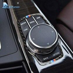 Airspeed Car fibra de carbono para BMW MARCO DE Botón Multimedia cubierta de perilla para F10 F20 F30 F34 F07 F25 F26 F15 F16 Accesorios