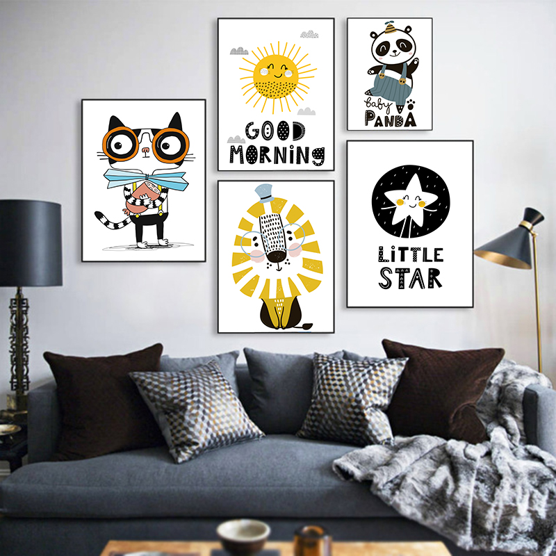 Cute Cat Lion Canvas Poster Animal Art Picture Prints Baby Kids Wall Home Decor