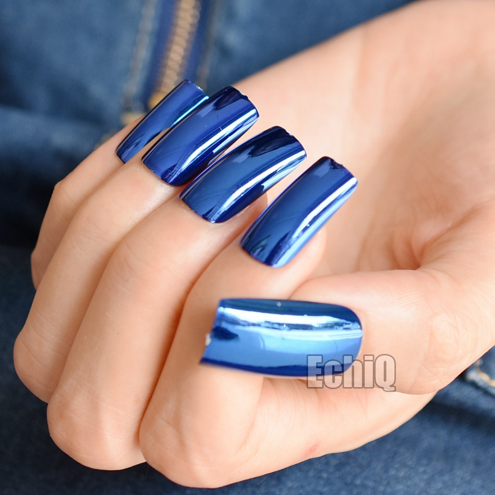 20pcs/kit Mirror Acrylic Fake Nails Deep Blue Metallic False Nail ...
