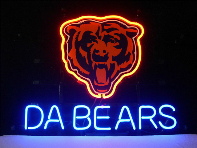 NEON SIGN For LED CHICAGO BEARS DA BEARS FOOTBALL Signboard REAL GLASS BEER  BAR PUB display - NEON SIGN For LED CHICAGO BEARS DA BEARS FOOTBALL Signboard REAL