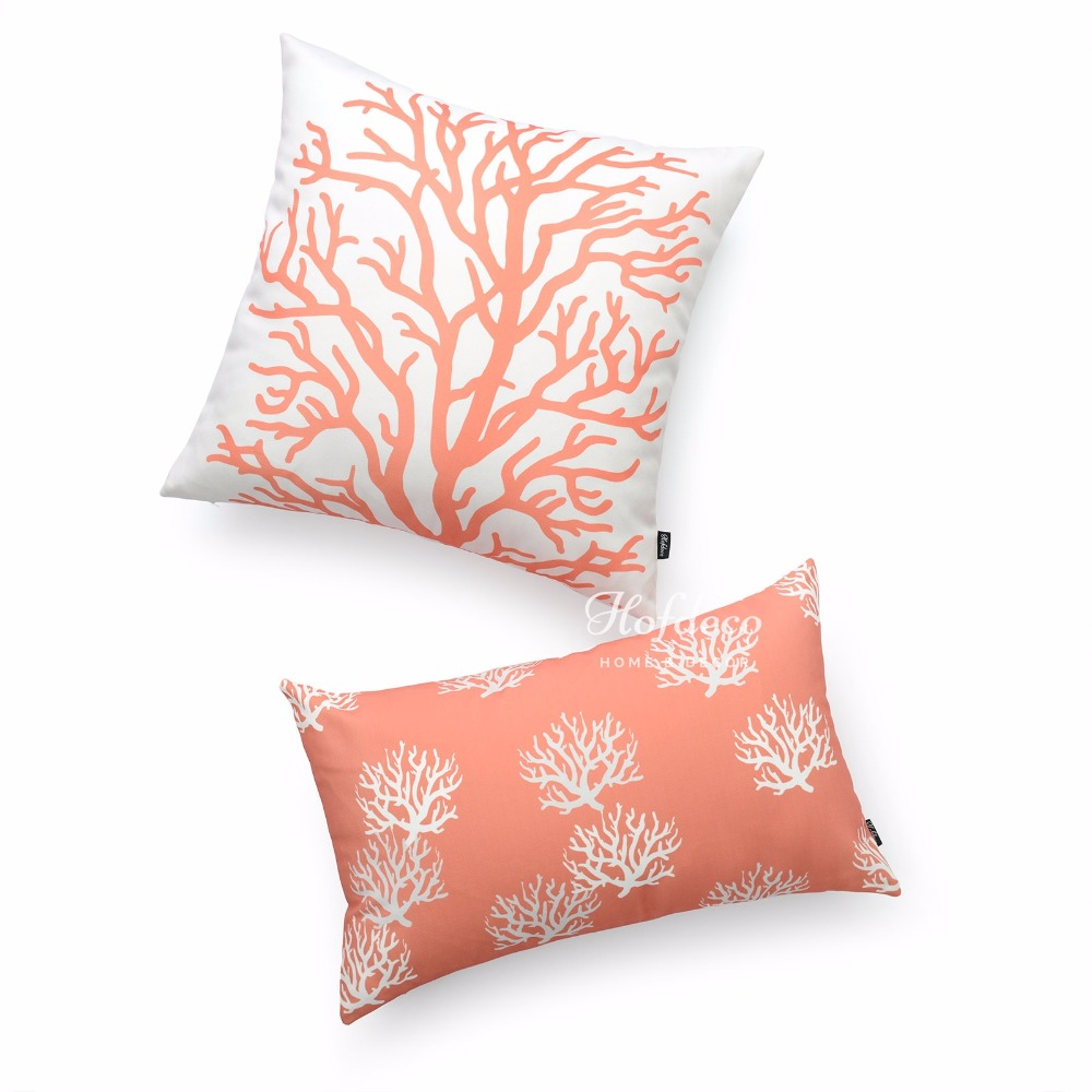 2pcs throw lumbar pillow cover set canvas coral ivory