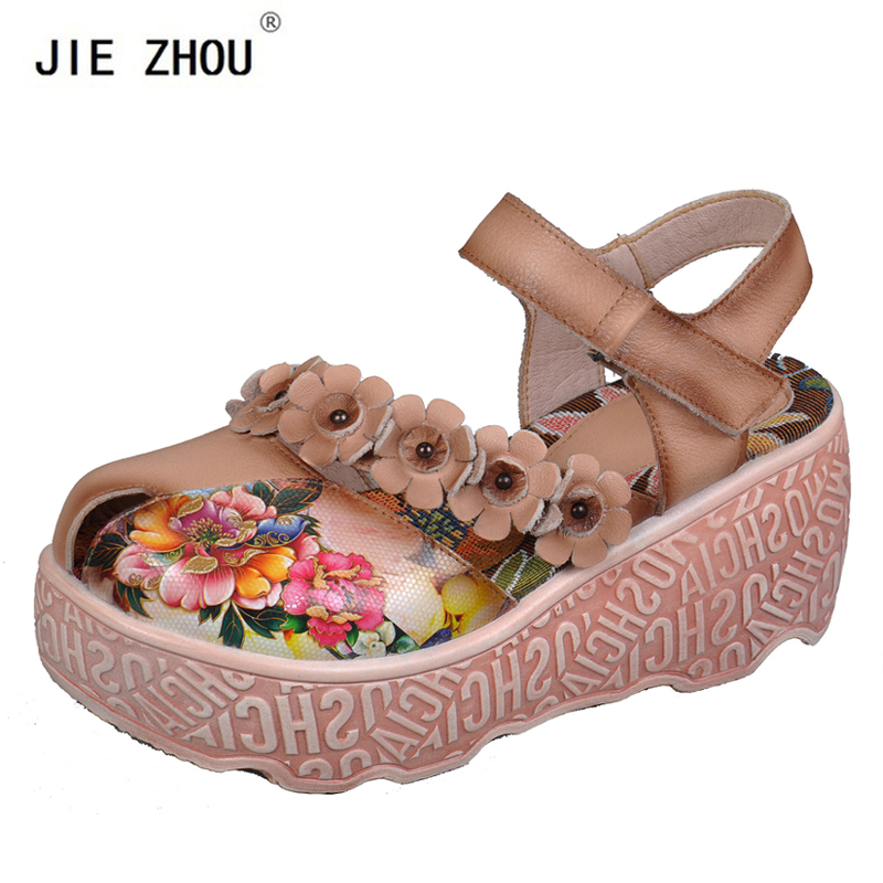 Summer Wedge Sandals Ethnic style Genuine Leather Platform Women s sandals Flower Comfortable High Heels women