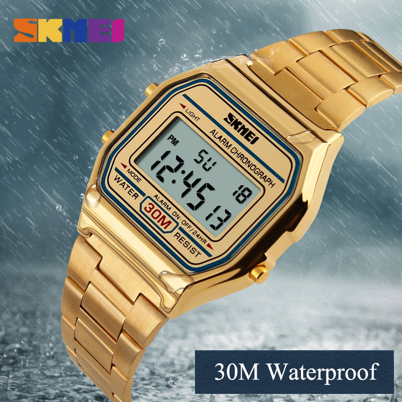 2017 SKMEI Men Fashion Casual Watch LED Man Digital Wristwatches Stainless Steel Waterproof Men Watches Masculino Relojes relojes full stainless steel men s sprot watch black and white face vx42 movement