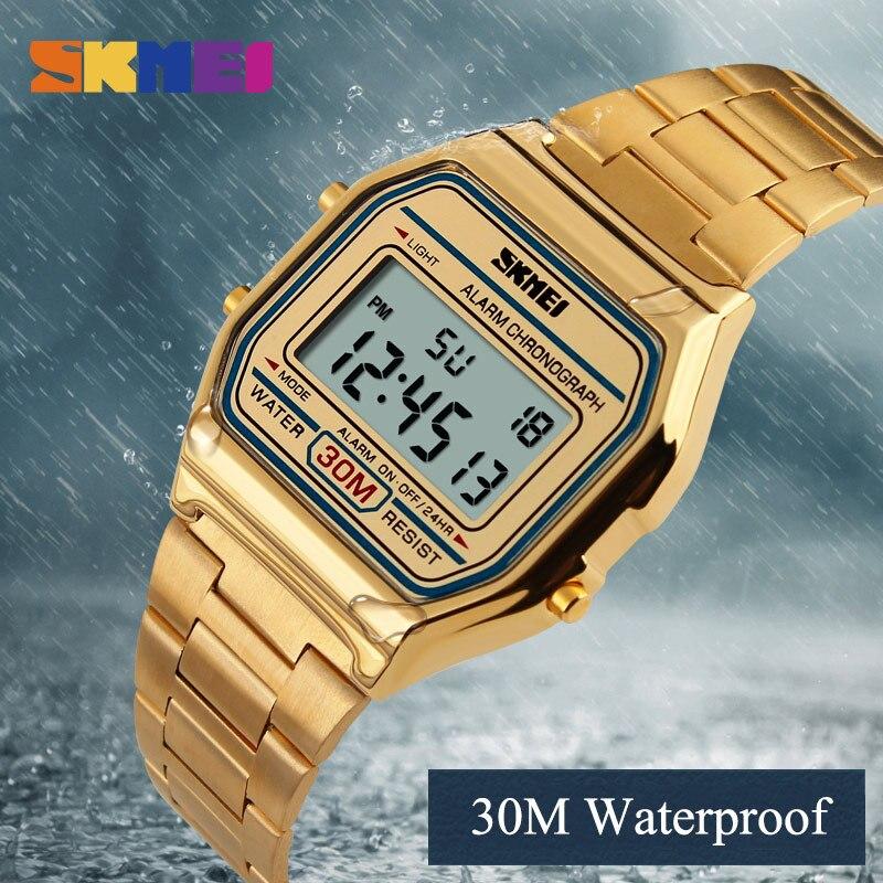2017 SKMEI Men Fashion Casual Watch LED Man Digital Wristwatches Stainless Steel Waterproof Men Watches Masculino Relojes skmei men sports waterproof watch stainless steel fashion digital wristwatches