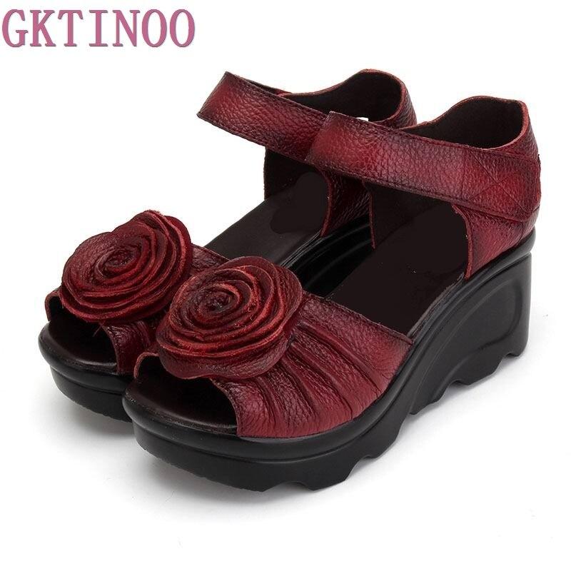 2018 estilo étnico Cuero auténtico mujeres Zapatos Sandalias cuñas Sandalias hecho a mano Cuero auténtico plataforma Mujer Sandalias