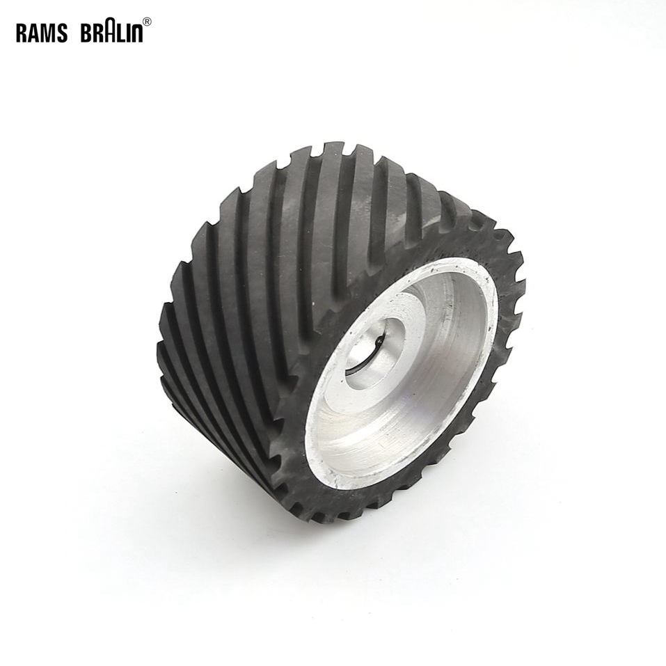 150*75mm Serrated Rubber Contact Wheel Dynamically Balanced Belt Sander Polisher Wheel Sanding Belt Set 150 25mm flat rubber contact wheel belt grinder parts sanding belt set