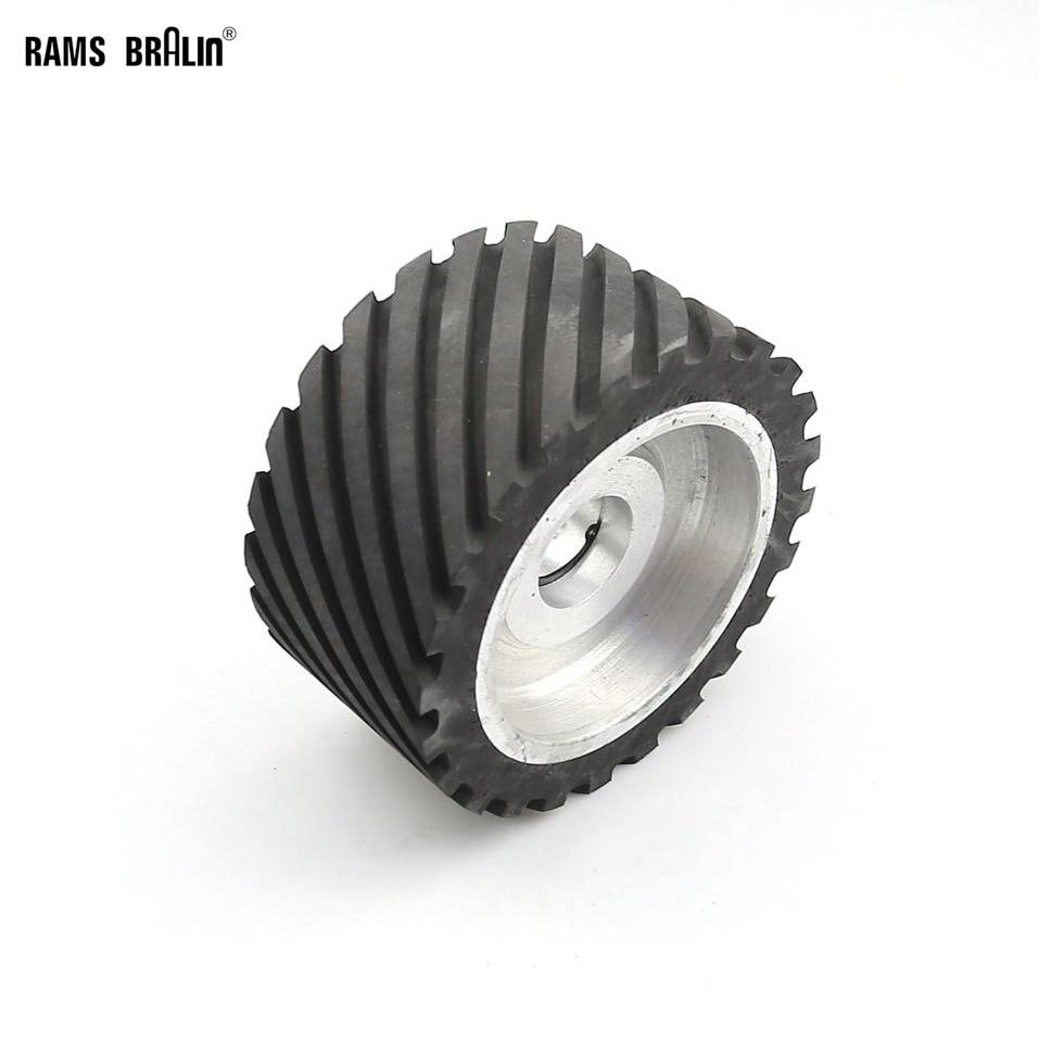 150*75mm Serrated Rubber Contact Wheel Dynamically Balanced Belt Sander Polisher Wheel Sanding  Belt Set