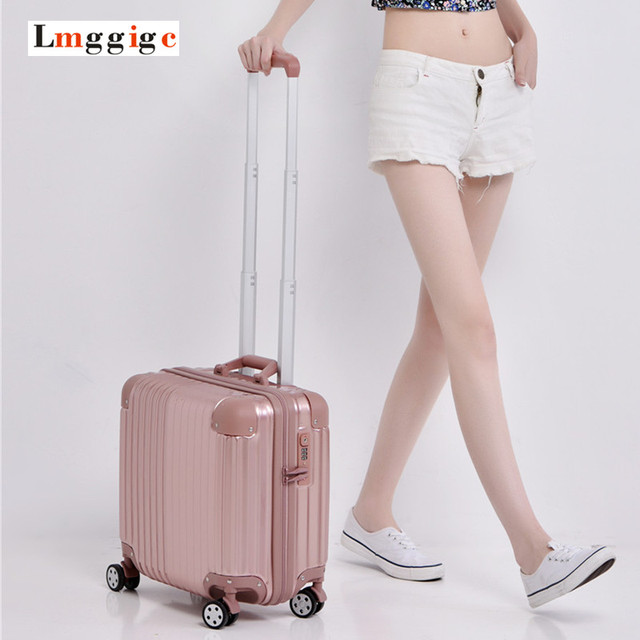 "New 17""inch Cabin Luggage,Zipper mini Suitcase,Women ABS universal wheels Small Travel bag ,Mute wheel Trolley Box,password Case"