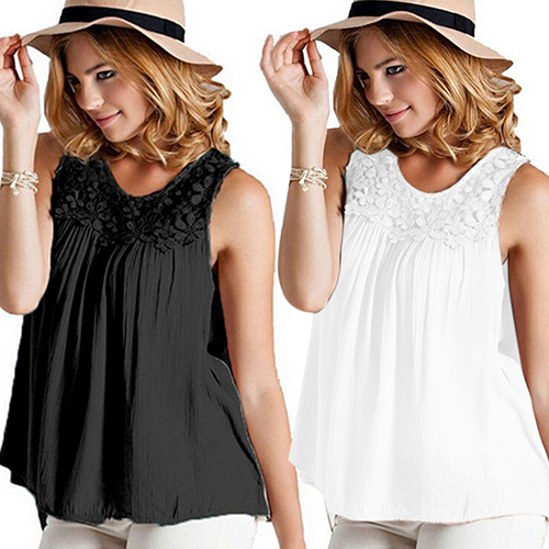 1cc85d5d8b6a Women s Summer Sexy Sleeveless Lace Collar Blouse Back Bandage Ladies Vest  Tops