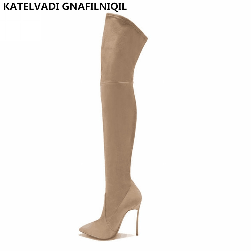 Over Knee Boots With Fur Women Black Thigh High Boots Shoes Woman Pointed toe Winter Stretch Flock Slim Fashion Boots FS-0146 ms noki fur new fashion style black ankle boots flats pointed toe back slip on boots pu flock woman shoes with warm fur outside