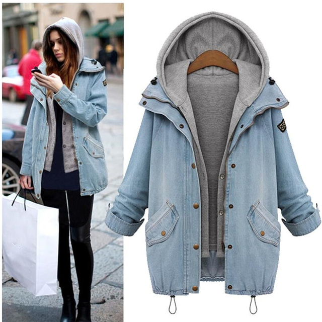Women Denim Jacket Coat Veste Femme Two-piece Jacket spring Autumn Hooded Bomber Plus Size female Jeans Jacket G288