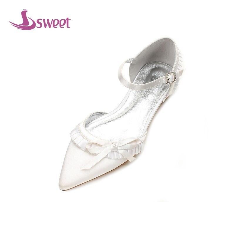 A122 purple La Talon Cheville Été Mariage white Chaussures Pompes silver Boucle Bride Femmes blue Un Femme Marque Soie lvory Red À De Doux Pointu Carré champagne Bout zFnZU8qx