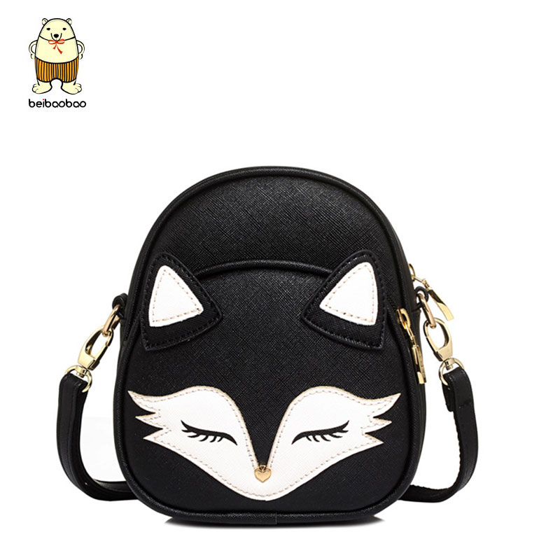 Beibaobao Cartoon Fox Fashion Design Women Messenger Bags Female Tote Women Bag Bolsa Lovely Cross-body Bags Leather Clutch B096