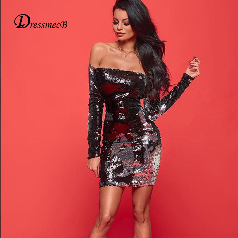 DRESSMECB Sexy Women Summer Dress Party Long Sleeve Elegant Dresses Flip Sequins  Off Shoulder Bodycon Vestidos-in Dresses from Women s Clothing on ... 782015ff9f2b