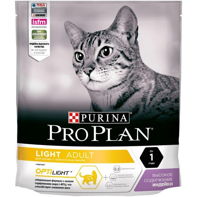 Сухой корм Purina Pro Plan для кошек с избыточным весом и кошек, склонных к полноте, с индейкой, Пакет, 400 г
