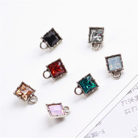 Wholesale 50PCS 8*12MM Crystal Rhinestoen Cube Square Pendant Charms DIY Jewelry Findings Necklace Bracelet Earring Charm Craft