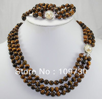 Jewelry 00223 5 color 3 row brown green black pearl necklace bracelet shell clasp set