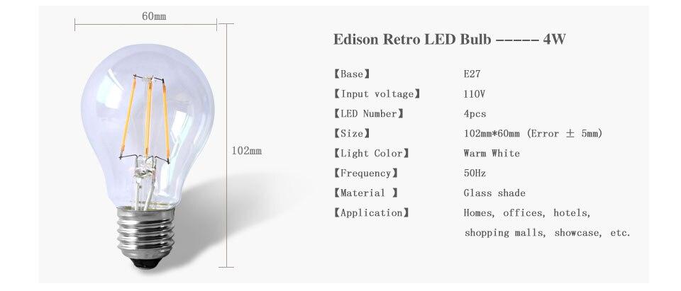 Dimmable Antique Retro Edison Incandescent LED lamp 110V E27 2W 4W 6W (5)