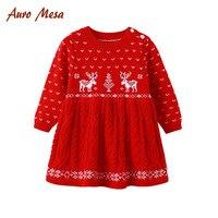 عيد الميلاد ثوب جديد طفل الفتيات الشتاء اللباس vestido infantil بيبي عيد فستان طويل كم فستان أحمر الفتيات ملابس الشتاء