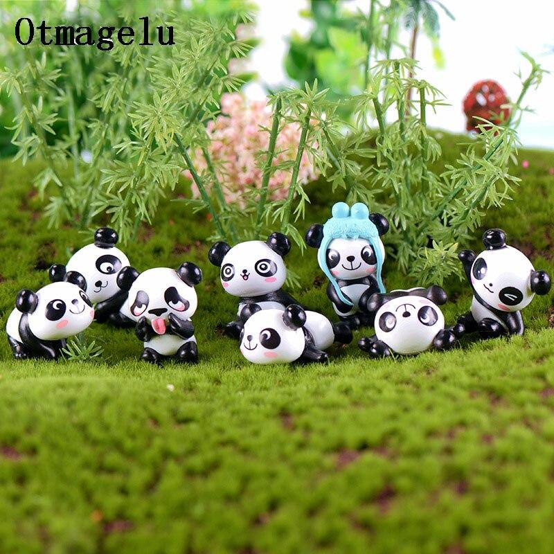 8 шт. милые китайские фигурки гигантской панды, миниатюры, мини-украшение «сделай сам», сказочное украшение для дома, микроскопическая тарел...