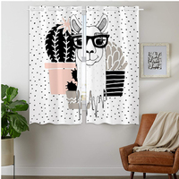 Blackout Curtains Darkening 2 Panels Grommet Window Curtain for Bedroom Funny Alpaca With Cactus