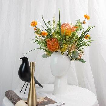 Home Decor Modern Porcelain Figurine Head Shape Vase Nordic design Ceramic Vase Fashion White Flower Vase Wedding decoration