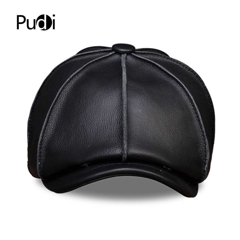 HL058 MEN 39 S genuine leather baseball cap hat brand new real leather beret caps hats in Men 39 s Baseball Caps from Apparel Accessories