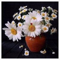 5d Diy Diamond Painting Flower Square Rhinestones Cross Stitch Sets Diamond Embroidery Daisy Vase Hobbies Stickers