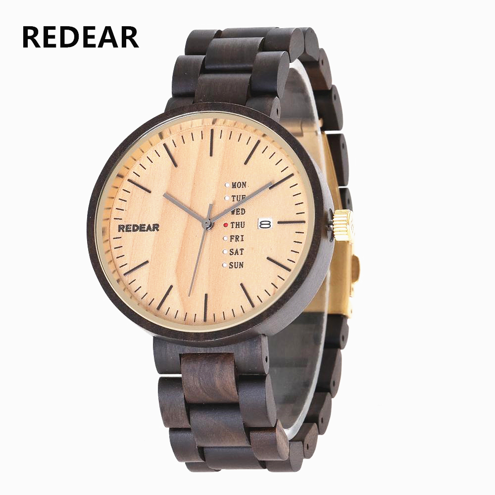 цена REDEAR Wooden Watch Fashion Men's & Women's Quartz Watch Clock Natural Wood Waterproof Calendar Couple Watches Relogio Masculino