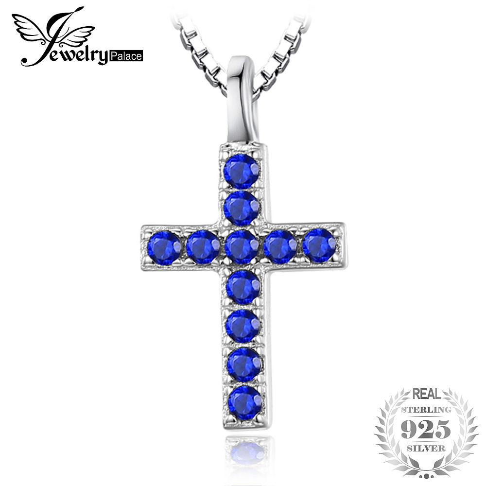 Cross 0.18ct Created Blue Spinel Pendant Necklace For Women Charms 925 Sterling Silver Pendant Not Include A Chain