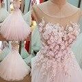 LS04819 luxury ball vestidos de casamento 2017 mangas lace up voltar vestidos de noiva com flores marfim real fotos