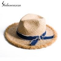 Sedancasesa Wide Brim Summer Straw Sun Hats for Women Handmade Bowknot Sun Caps Straw Cap Portable SunHat for Vacation