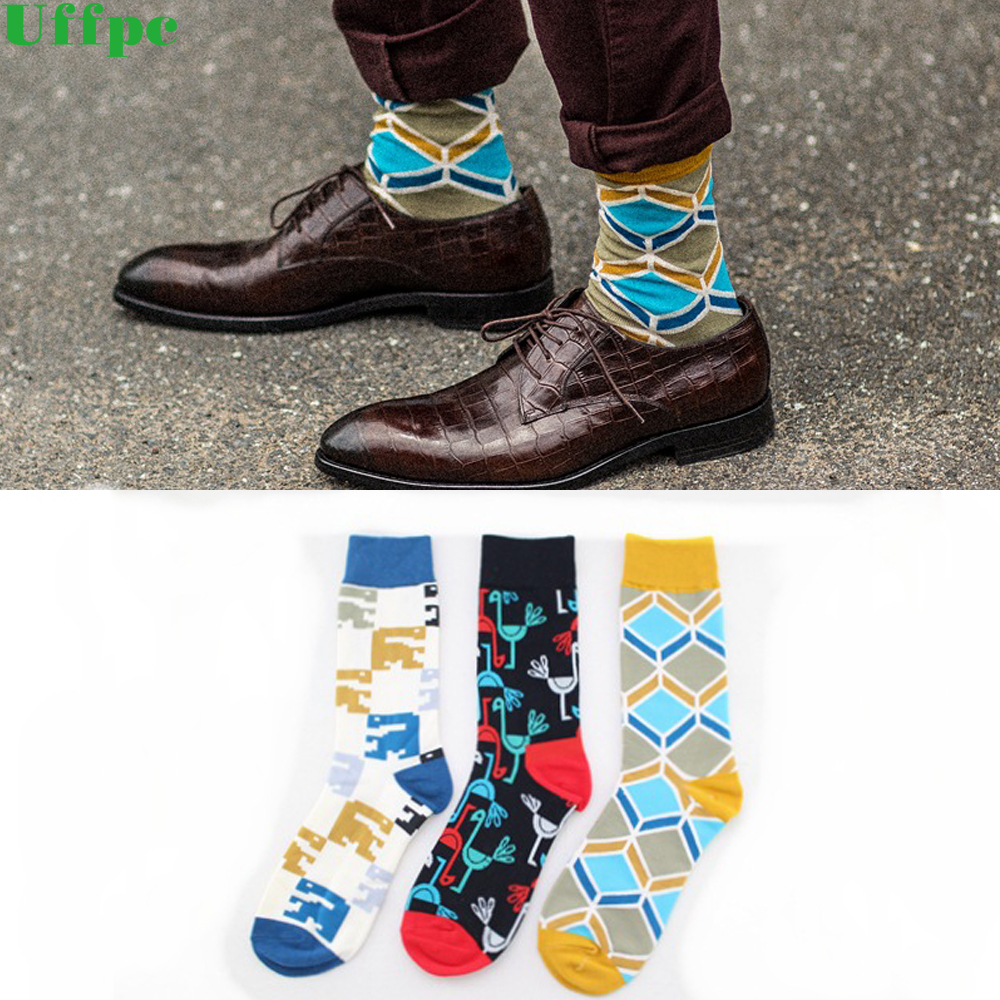 5 pairs/lot Men New Fashion Design Colorful Wedding Socks Argyle Socks Combed Cotton Striped Pattern Socks Long Warm Art Soks ...