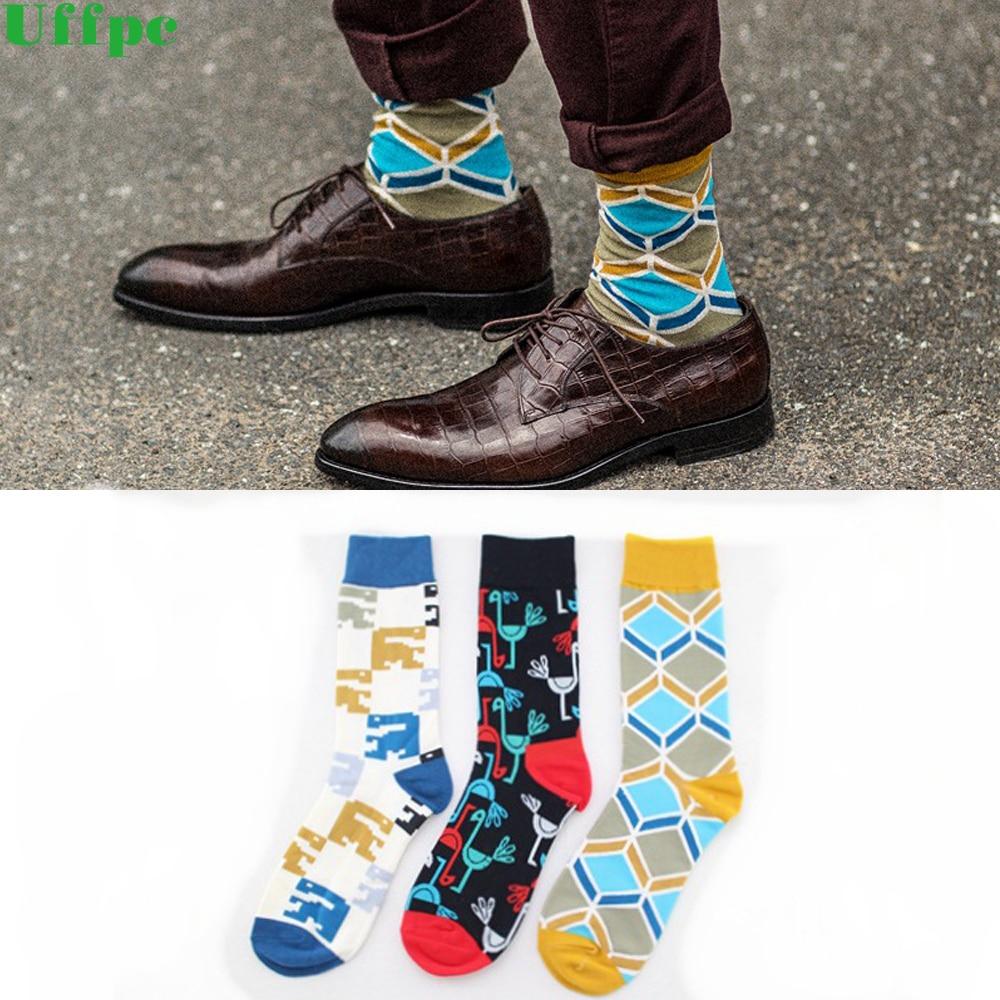 5 pairs/lot Men New Fashion Design Colorful Wedding Socks Argyle Socks Combed Cotton Striped Pattern Socks Long Warm Art Soks ...