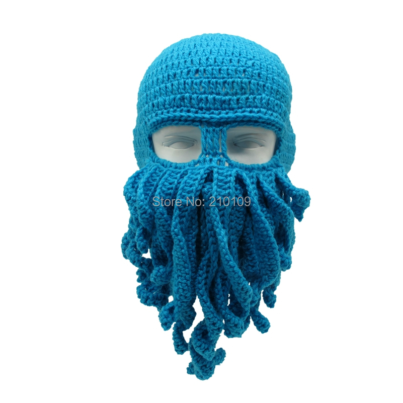Mr.Kooky Handmade Funny Tentacle Octopus Hat Crochet Cthulhu Beard Beanie Men's Women's Knit Wind Mask Cap Halloween Animal Gift