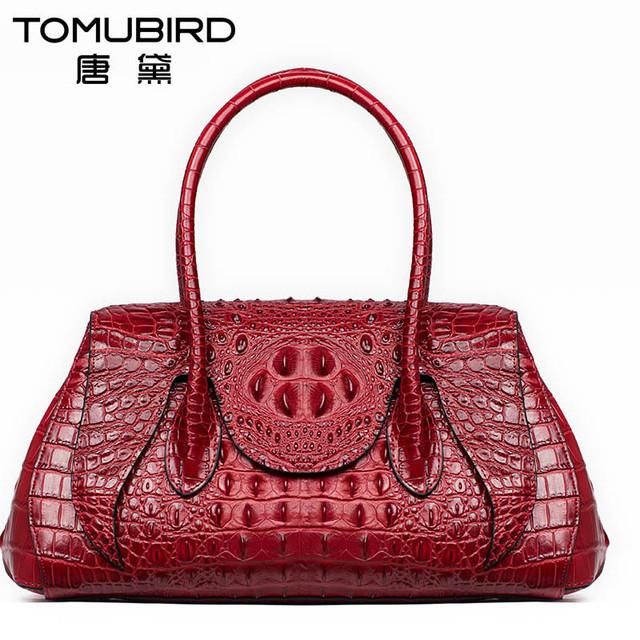 Tomubird head camada couro genuíno couro embossing pacote bolinhos bolsa das mulheres crocodilo grãos sacos do mensageiro das mulheres