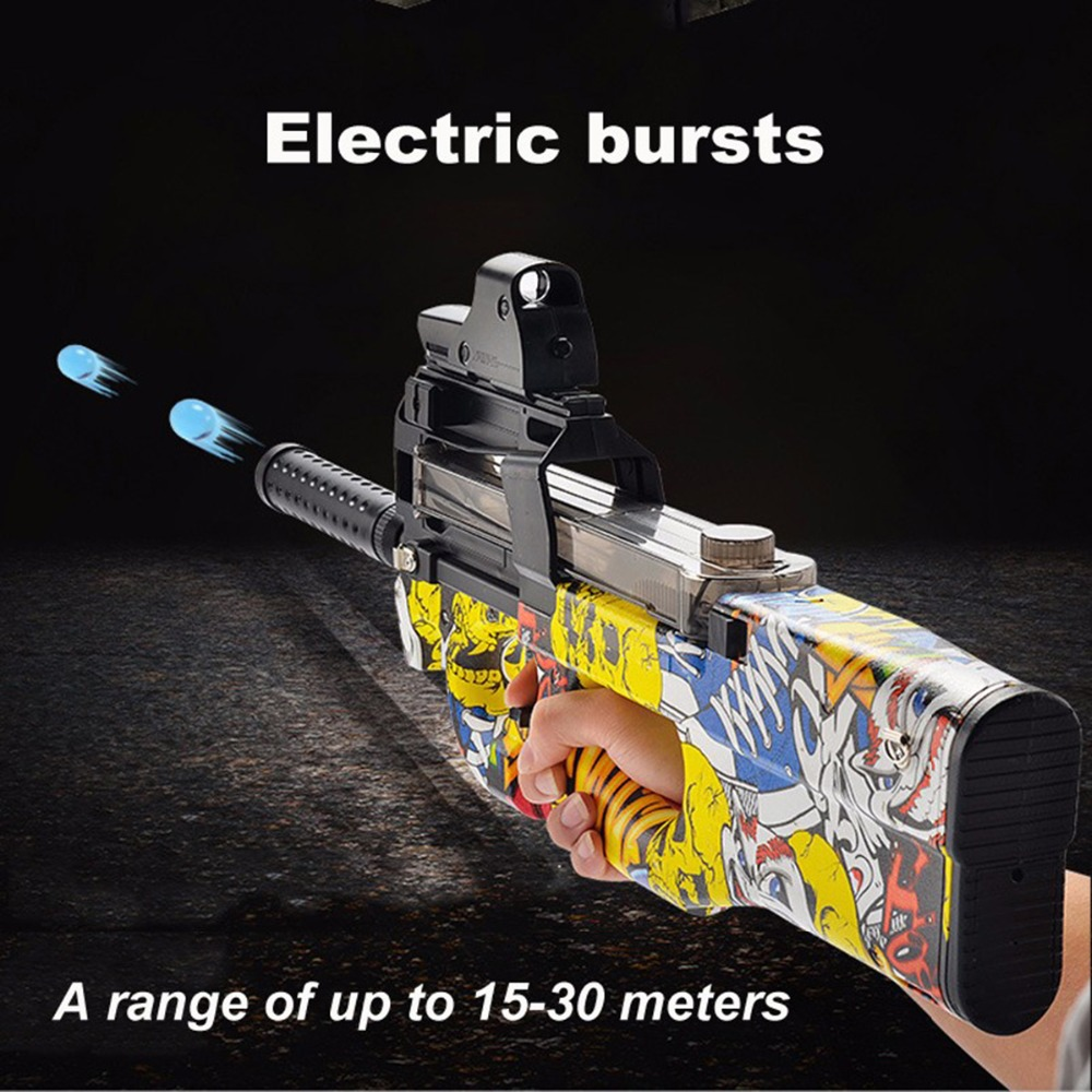 Graffiti Edition P90 Electric Toy Gun Assault Sniper Weapon Bursts Pistol Gun Soft Water Bullet Funny Outdoors Children Baby Toy soft foam bullets whistle for gun pistol toy orange blue 10pcs