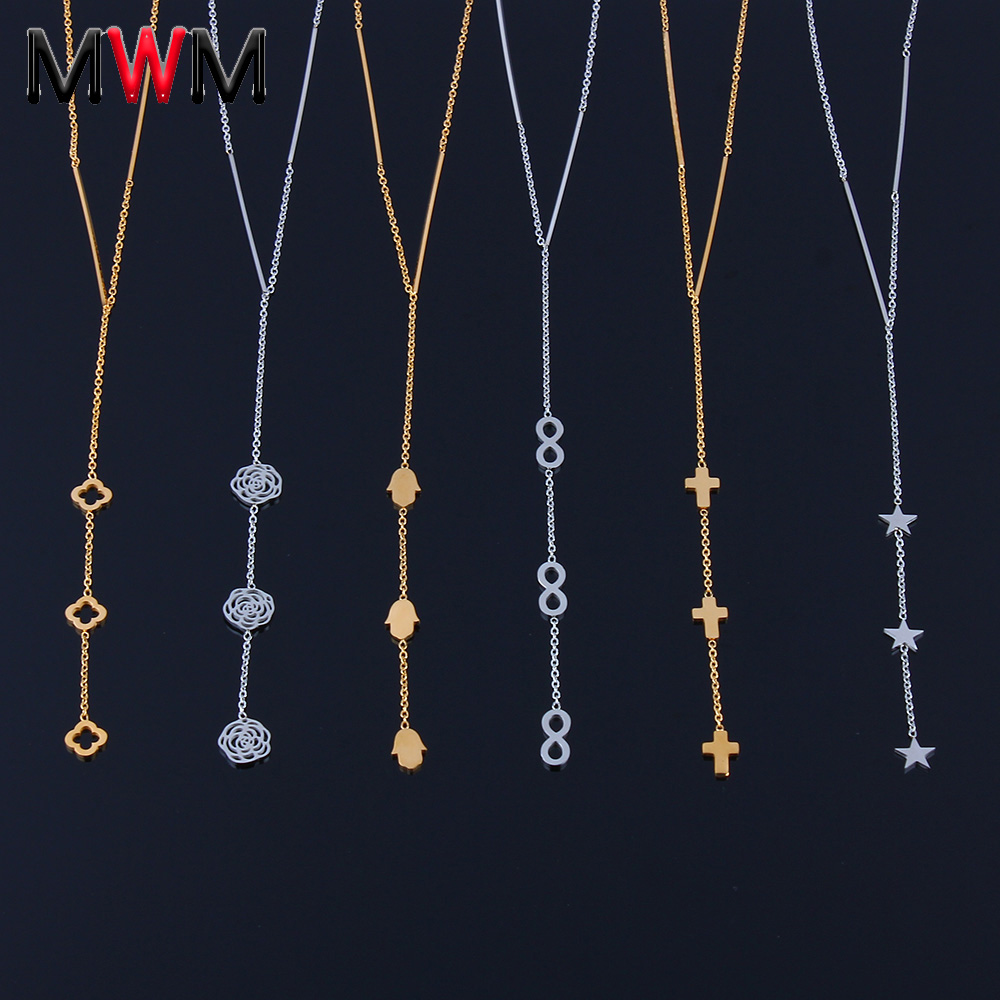 stainless steel chain pendant necklaces women collar infinity cross heart jewelry gold neckless long necklace(China)