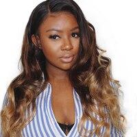 Ombre натуральные волосы парик объемная волна 250 плотность Синтетические волосы на кружеве натуральные волосы парики Цветной 1B/4/27 Мёд русый 4x4