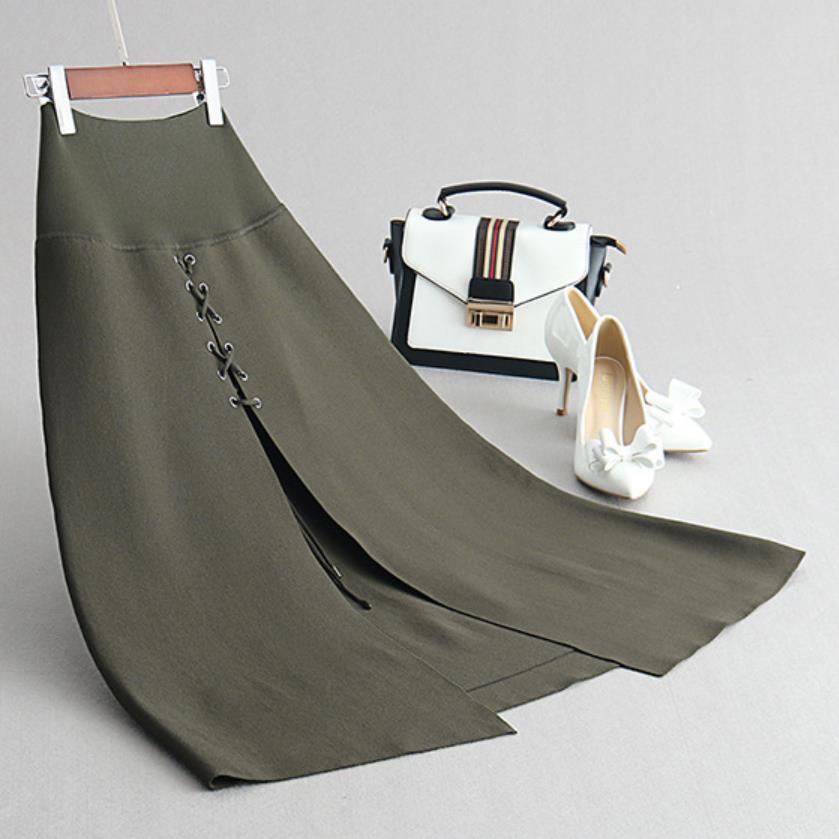bff291862 Falda Mujer Otoño-Invierno Falda de punto de cintura alta euroamericana  moda chic Falda larga de ...