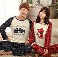 New men/Women Pajamas Set Couples Sleepwear Full Sleeve fish and cat Thin Summer Ladies Pyjamas Women Comfortable Homewear